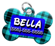 Plaid (Turquoise) Dog Tag for Pets Personalized Custom Pet Tag with Pets Name & Contact Number [Multiple Font Choices] [USA COMPANY]