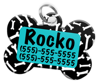 Dog Bone Pattern (Turquoise) Dog Tag for Pets Personalized Custom Pet Tag with Pets Name & Contact Number [Multiple Font Choices] [USA COMPANY]