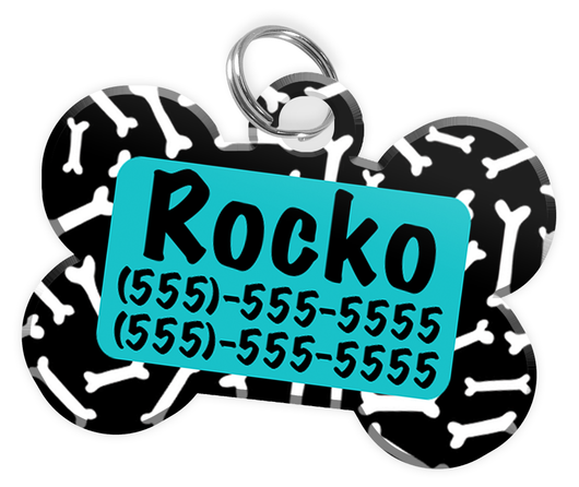 Dog Bone Pattern (Turquoise) Dog Tag for Pets Personalized Custom Pet Tag with Pets Name & Contact Number [Multiple Font Choices] [USA COMPANY] - EliteFanCo