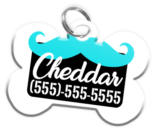 Funny Mustache (Turquoise) Dog Tag for Pets Personalized Custom Pet Tag with Pets Name & Contact Number [Multiple Font Choices] [USA COMPANY] | ElitePetFan.com