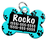 Paw Print Pattern (Turquoise) Dog Tag for Pets Personalized Custom Pet Tag with Pets Name & Contact Number [Multiple Font Choices] [USA COMPANY] | ElitePetFan.com