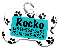 Paw Print Pattern (Turquoise) Dog Tag for Pets Personalized Custom Pet Tag with Pets Name & Contact Number [Multiple Font Choices] [USA COMPANY]