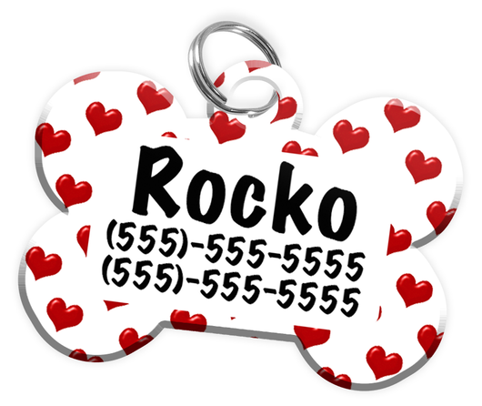 Heart Pattern Dog Tag for Pets Personalized Custom Pet Tag with Pets Name & Contact Number [Multiple Font Choices] [USA COMPANY] - EliteFanCo