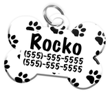 Paw Print Pattern Dog Tag for Pets Personalized Custom Pet Tag with Pets Name & Contact Number [Multiple Font Choices] [USA COMPANY]