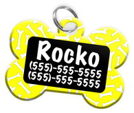 Dog Bone Pattern (Yellow) Dog Tag for Pets Personalized Custom Pet Tag with Pets Name & Contact Number [Multiple Font Choices] [USA COMPANY]