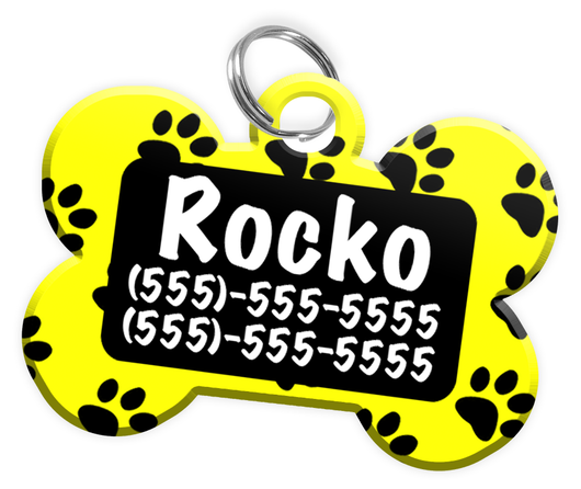Paw Print Pattern (Yellow) Dog Tag for Pets Personalized Custom Pet Tag with Pets Name & Contact Number [Multiple Font Choices] [USA COMPANY] | ElitePetFan.com