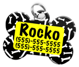 Dog Bone Pattern (Yellow) Dog Tag for Pets Personalized Custom Pet Tag with Pets Name & Contact Number [Multiple Font Choices] [USA COMPANY] - EliteFanCo
