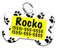 Paw Print Pattern (Yellow) Dog Tag for Pets Personalized Custom Pet Tag with Pets Name & Contact Number [Multiple Font Choices] [USA COMPANY]
