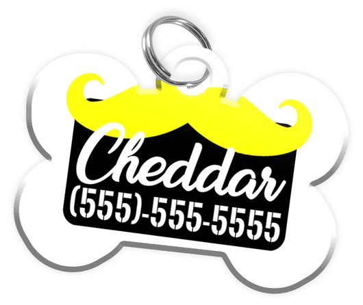 Funny Mustache (Yellow) Dog Tag for Pets Personalized Custom Pet Tag with Pets Name & Contact Number [Multiple Font Choices] [USA COMPANY] - EliteFanCo