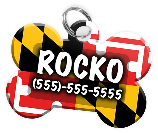 Maryland Flag - Dog Tag for Pets Personalized Custom Pet Tag with Pets Name & Contact Number [Multiple Font Choices] [USA COMPANY]
