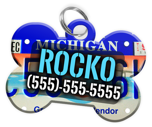 Michigan - Dog Tag for Pets Vintage License Plate Personalized Custom Pet Tag with Pets Name & Contact Number [Multiple Font Choices] [USA COMPANY] | ElitePetFan.com