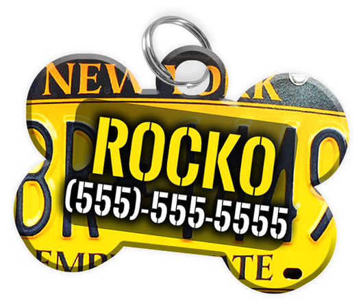 New York - Dog Tag for Pets Vintage License Plate Personalized Custom Pet Tag with Pets Name & Contact Number [Multiple Font Choices] [USA COMPANY]
