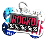 Oklahoma - Dog Tag for Pets Vintage License Plate Personalized Custom Pet Tag with Pets Name & Contact Number [Multiple Font Choices] [USA COMPANY]