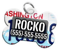 Washington - Dog Tag for Pets Vintage License Plate Personalized Custom Pet Tag with Pets Name & Contact Number [Multiple Font Choices] [USA COMPANY]