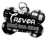 Plaid (Black) Dog Tag for Pets Personalized Custom Pet Tag with Pets Name & Contact Number [Multiple Font Choices] [USA COMPANY]