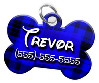 Plaid (Blue) Dog Tag for Pets Personalized Custom Pet Tag with Pets Name & Contact Number [Multiple Font Choices] [USA COMPANY]