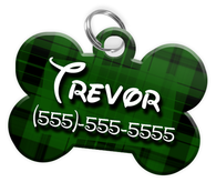 Plaid (Green) Dog Tag for Pets Personalized Custom Pet Tag with Pets Name & Contact Number [Multiple Font Choices] [USA COMPANY]