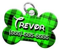 Plaid (Light Green) Dog Tag for Pets Personalized Custom Pet Tag with Pets Name & Contact Number [Multiple Font Choices] [USA COMPANY]