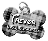 Plaid (Grey) Dog Tag for Pets Personalized Custom Pet Tag with Pets Name & Contact Number [Multiple Font Choices] [USA COMPANY]