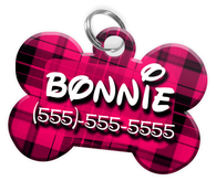 Plaid (Hot Pink) Dog Tag for Pets Personalized Custom Pet Tag with Pets Name & Contact Number [Multiple Font Choices] [USA COMPANY]