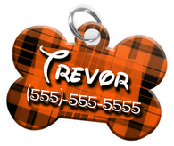 Plaid (Orange) Dog Tag for Pets Personalized Custom Pet Tag with Pets Name & Contact Number [Multiple Font Choices] [USA COMPANY]