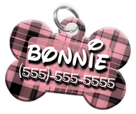 Plaid (Pink) Dog Tag for Pets Personalized Custom Pet Tag with Pets Name & Contact Number [Multiple Font Choices] [USA COMPANY]