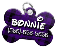 Plaid (Purple) Dog Tag for Pets Personalized Custom Pet Tag with Pets Name & Contact Number [Multiple Font Choices] [USA COMPANY]