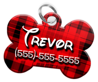 Plaid (Red) Dog Tag for Pets Personalized Custom Pet Tag with Pets Name & Contact Number [Multiple Font Choices] [USA COMPANY]