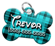 Plaid (Turquoise) Dog Tag for Pets Personalized Custom Pet Tag with Pets Name & Contact Number [Multiple Font Choices] [USA COMPANY] | ElitePetFan.com