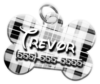Plaid (White) Dog Tag for Pets Personalized Custom Pet Tag with Pets Name & Contact Number [Multiple Font Choices] [USA COMPANY]