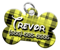 Plaid (Yellow) Dog Tag for Pets Personalized Custom Pet Tag with Pets Name & Contact Number [Multiple Font Choices] [USA COMPANY]