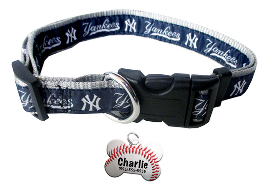 New York Yankees Baseball Dog or Cat Collar with FREE Personalized Dog Tag for Pets with Name & Number [Multiple Collar Sizes Avl: S,M,L]