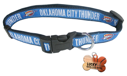 Oklahoma City Thunder Basketball Dog or Cat Collar with FREE Personalized Dog Tag for Pets with Name & Number [Multiple Collar Sizes Avl: S,M,L] | ElitePetFan.com