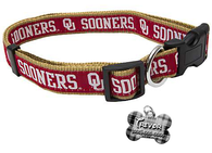 Oklahoma Sooners NCAA Pet Dog or Cat Collar with FREE Personalized ID Dog Tag with Name & Number [Multiple Collar Sizes Avl: S,M,L] | ElitePetFan.com