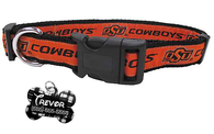 Oklahoma State Cowboys NCAA Pet Dog or Cat Collar with FREE Personalized ID Dog Tag with Name & Number [Multiple Collar Sizes Avl: S,M,L]
