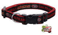 San Francisco 49ers Football Pet Dog or Cat Collar with FREE Personalized ID Dog Tag with Name & Number [Multiple Collar Sizes Avl: S,M,L] | ElitePetFan.com