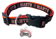 San Francisco Giants Baseball Dog or Cat Collar with FREE Personalized Dog Tag for Pets with Name & Number [Multiple Collar Sizes Avl: S,M,L]