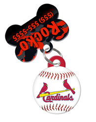 St. Louis Cardinals MLB Dog ID Tag (2 Pack) for Pet - Custom Personalization with Pets Name & Contact Number [Multiple Font Choices]