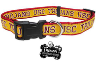 USC Trojans NCAA Pet Dog or Cat Collar with FREE Personalized ID Dog Tag with Name & Number [Multiple Collar Sizes Avl: S,M,L]