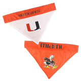 Miami Hurricanes NCAA Reversible Bandana (Home side & Away side) for Dog (2 Sizes Available)