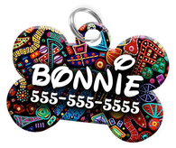 Abstract Dog Tag for Pets Personalized Custom Pet Tag with Pets Name & Contact Number [Multiple Font Choices] [USA COMPANY] - EliteFanCo