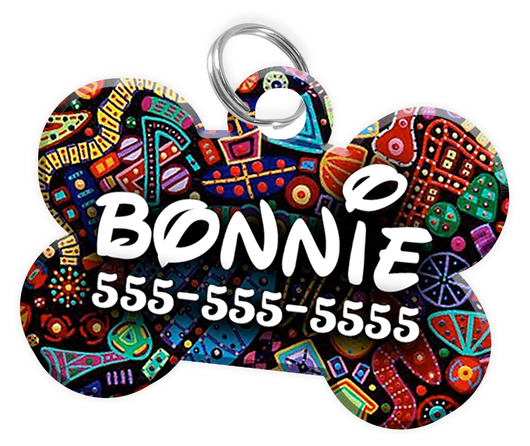 Abstract Dog Tag for Pets Personalized Custom Pet Tag with Pets Name & Contact Number [Multiple Font Choices] [USA COMPANY] | ElitePetFan.com