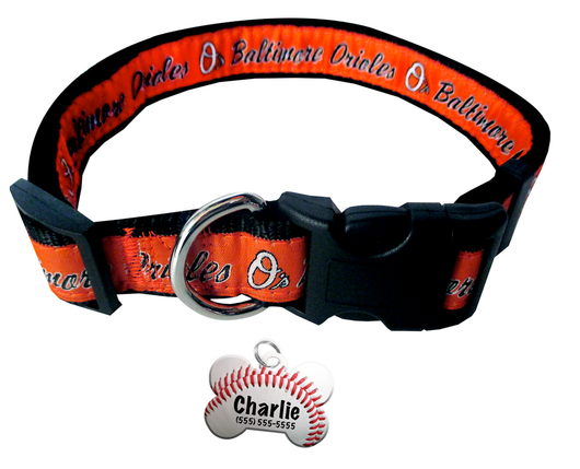 Baltimore Orioles Baseball Dog or Cat Collar with FREE Personalized Dog Tag for Pets with Name & Number [Multiple Collar Sizes Avl: S,M,L] - EliteFanCo