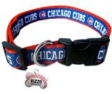 Chicago Cubs Baseball Dog or Cat Collar with FREE Personalized Dog Tag for Pets with Name & Number [Multiple Collar Sizes Avl: S,M,L]