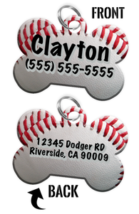 Double-Sided Baseball Dog tag personalized for pets with name & contact number (Front) & address or other text (Back) - EliteFanCo
