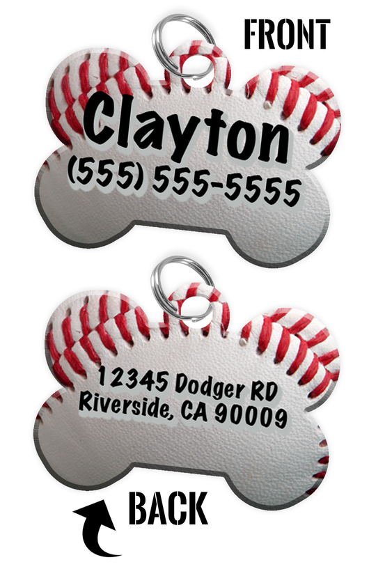 Double-Sided Baseball Dog tag personalized for pets with name & contact number (Front) & address or other text (Back) | ElitePetFan.com