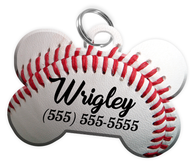 Baseball Dog Tag for Pets Personalized Custom Pet Tag with Pets Name & Contact Number [Multiple Font Choices] [USA COMPANY] - EliteFanCo