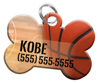 Basketball Dog Tag for Pets Personalized Custom Pet Tag with Pets Name & Contact Number [Multiple Font Choices] [USA COMPANY]