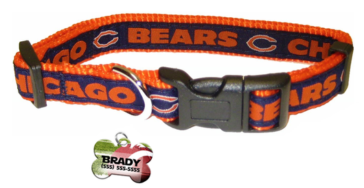 Chicago Bears Football Pet Dog or Cat Collar with FREE Personalized ID Dog Tag with Name & Number [Multiple Collar Sizes Avl: S,M,L] - EliteFanCo