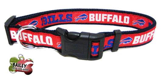 Buffalo Bills Football Pet Dog or Cat Collar with FREE Personalized ID Dog Tag with Name & Number [Multiple Collar Sizes Avl: S,M,L] - EliteFanCo